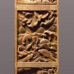 """Резные вставки из ореха с миниатюрами, изображающие четвёртый, пятый и шестой день Творения. Выполнены для часов """"Шаббат"""" http://www.konstantin-chaykin.com/ Резьба по дереву Байкова Михаила."""