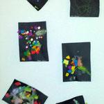 Kleister und verschiedene Papierschnipsel
