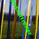 PVC Streifen in bester Qualität, Plane 660g/m²  in gelb + blau