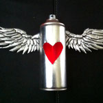 winged can with light sculpture