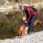 der Fluss ist nicht nur für die Hunde verlockend...