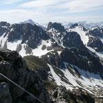 Schafalpenköpfe mit Klettersteig sowie dem Aufstiegsweg zur Fiderepasshütte