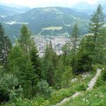 Blick auf Mittenwald,beim Aufsteig zur Mittenwalder Hütte