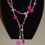Pink - weiße Kette mit Magnetverschluß