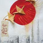 KH-J3-Japan: 11.3.2011 - Die Erdbeben- und Tsunami-Katastrophe in Japan. Die Sonne der Gerechtigkeit soll aufgehen mit Heilung unter den Flügeln. Der Origami-Kranich ist in Japan ein Zeichen für Heilung.