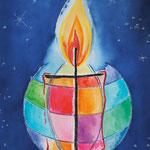KH-K8 Kerze: Jesus, das Licht der Welt, durchkreuzt die Finsternis