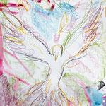 KH-BD1-Taube: Ben David, 7 J. (Farbgebung) und Kristin H. (Umriss Taube): Der Heilige geist bringt Gottes Liebe, Glaube Hoffnung und Leben.
