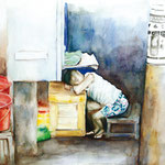 KH-RP6-Junge: Erschöpfter Junge am Straßenverkaufsstand