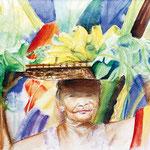 KH-RP5-Bananalady : Alte Frau, die Gemüse und Obst am Strand verkauft