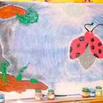 Réalisation d'une fresque lors de l'intervention scolaire de l'auteur Marie-Françoise Bongiovanni dans une classe de maternelle du Trinitaire à AVIGNON en 2015