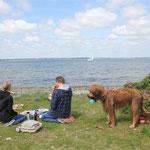 Männertags-Picknick in Familie (ich war vorher schon im Wasser)