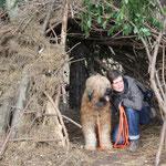 in einer von Kindern gebauten Bude im Wald