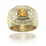 Custom ring created using client's gold and gems. 14 kt yellow gold with citrine and diamonds.