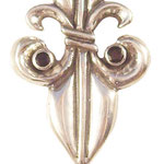Custom Fleur de Lis sterling silver pendant with black diamonds.