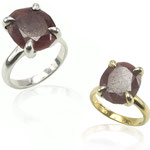Custom ruby ring made using client's gem. Sterling silver/sterling silver with gold plating and ruby.
