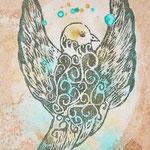 鳥   木版×水彩×和紙   (2008)  180×148 木製パネル張り
