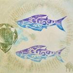 さかな    木版×水彩×和紙   (2012)    250×250    アクリル版仕上げ