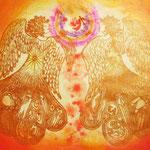 ふたりの天使 【売却済】   木版×水彩×和紙   (2010)  500×652