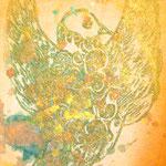 「鳥」       【売却済】木版×水彩×和紙   木製パネル張り  180×148mm 2009