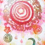 「未来時計」  木版×水彩×和紙   180×148 2011