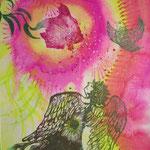 「天使と光る花」 木版×水彩×和紙     630×430mm 2009