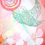 「楽園」   木版×水彩×和紙     180×148mm 2011