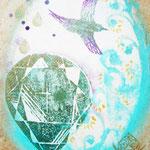 「旅立ち」【売却済】  木版×水彩×和紙    180×148mm 2011