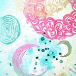 「つながる」  木版×水彩×和紙   180×148 2011
