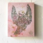 「鳥(pink)」   木版×水彩×和紙    木製パネル張り  180×148mm  2008