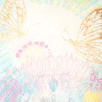「蝶と花#1」 木版×水彩×和紙    148×180mm   木製パネル張り   2016