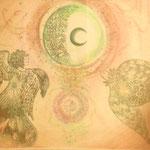 生命  【個人様オーダーメイド】 木版×水彩×和紙   (2013)  550×680