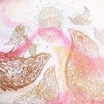「さしのべてつながるわ」【個人様オーダーメイド】木版×水彩×和紙      500×652mm  2009