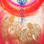 「赤と青の愛」 【個人様オーダーメイド】木版×水彩×和紙     500×652mm  2009