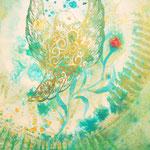 「赤い蕾」【個人様オーダーメイド】木版×水彩×和紙 木製パネル張り    300×210mm 2008