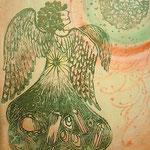 「天使と時空だま」 木版×水彩×和紙   430×550mm 2009