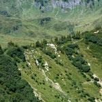 Der Suenser Weg - eine Gratwanderung mit Fels durchsetzten Stellen.