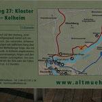 Der rot eingezeichnete Wanderweg zwischen Kloster Weltenburg und Kehlheim
