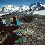 Monte Rosa und Lyskamm mit Gornergletscher, Walliser Breithorn und Kl. Matterhorn mit Theodulgletscher vom Rücken des Hirli