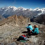 Der Mischabelkamm von der Lenzspitze bis zum Findelengletscher