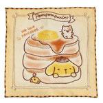 ポムポムプリン 全面刺繍ハンカチタオル。サイズ:約250×250mm 税込¥660