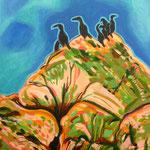 'Birds at Greymare II', acrylic on canvas, 30cm X 45cm, framed