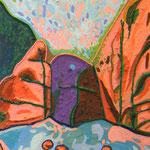 'Burn O' Vat Rocks!', oil and thread on canvas, 30cm X 45cm, framed
