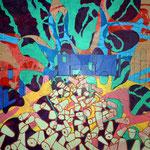 'Broadford Works I, mixed media on canvas, 136cm X 120cm