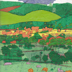 'Castlerig Outlook', mixed media on paper, 23cm X 32cm, framed