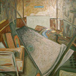 'Abandoned room in Blair's College', £1000, oil paint and yacht varnish on canvas, 120cm X 135cm