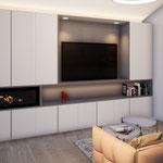 Réfection de la décoration d'une villa à Villeneuve Loubet et création d'un meuble multi-fonctions sur-mesure