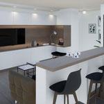 Réaménagement d'un appartement à Carros et création d'un meuble TV sur-mesure