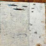 Buch der langsamen Erinnerung; Eitempera auf Leinwand mit Sand, 2018, 100 x 100 cm
