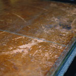 Before Restoration: Antique leather desk top
