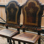 Restored Antique Italian leather chairs